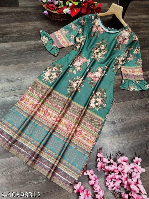 R K Maniyar Women's Special Silk Kurti With Digital Prints.