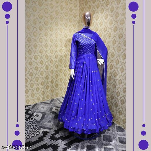 ITS GEORGETT FABRIC ONE PIECE GOWN WITH FANCY DUPATTA