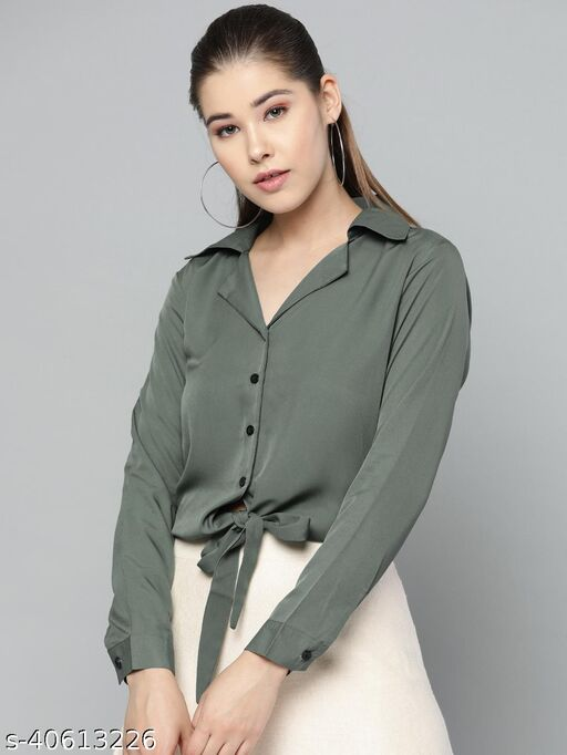 Olive Solid Front Knot Shirt