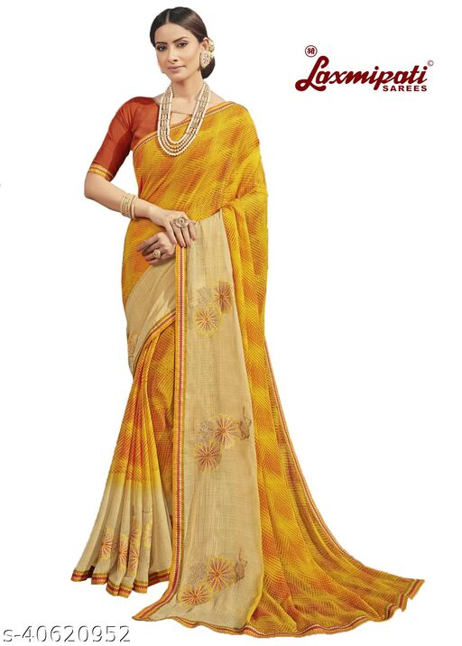 Laxmipati Embroidered Georgette Chiffon  Saree With Blouse Piece (Mustard)