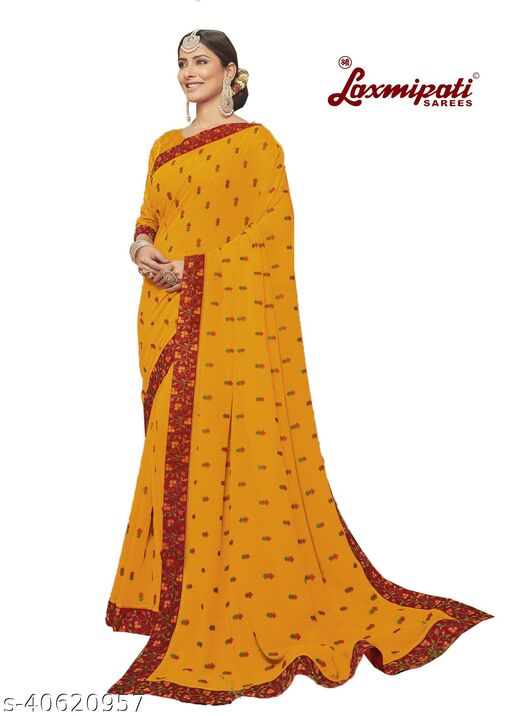 Laxmipati Embroidered Georgette Chiffon  Saree With Blouse Piece (Yellow)