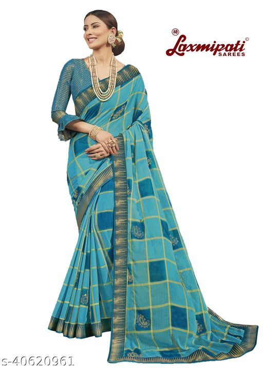 Laxmipati Embroidered Georgette Chiffon  Saree With Blouse Piece (Sky Blue)