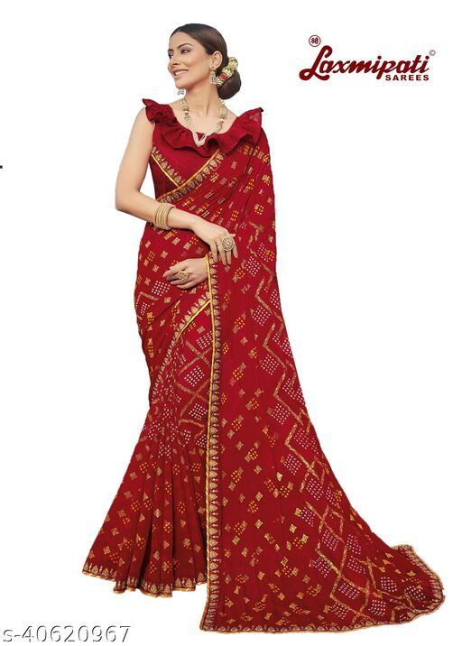 Laxmipati Embroidered Georgette Chiffon  Saree With Blouse Piece (Maroon)
