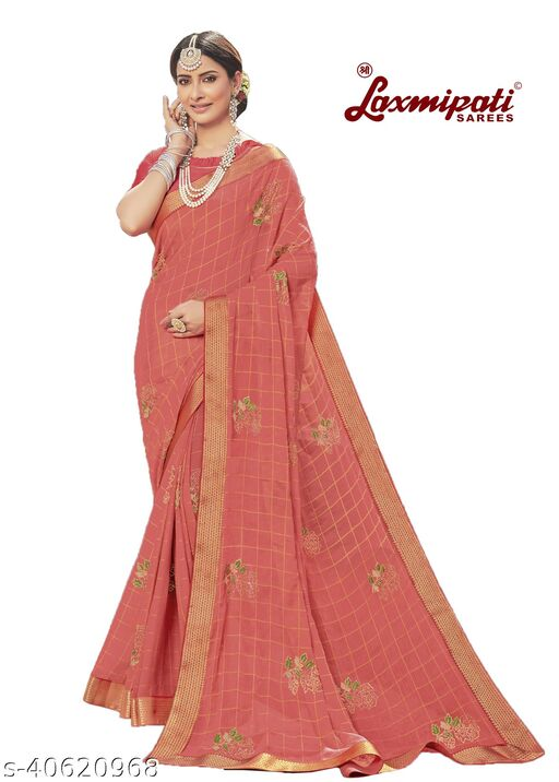 Laxmipati Embroidered Georgette Chiffon  Saree With Blouse Piece (Pink)