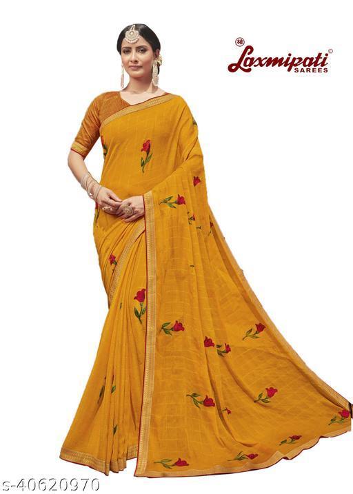 Laxmipati Embroidered Georgette Chiffon  Saree With Blouse Piece (Mango)