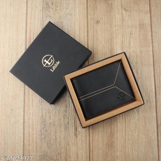 Liftible Wallet Stitched design no.8 Black Vegan Leather