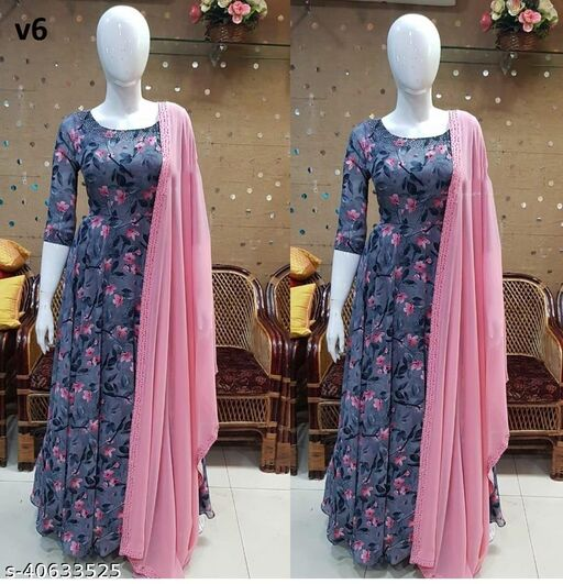 Captivating Grey Colored Partywear Floral Digital Printed Georgette Gown With Dupatta