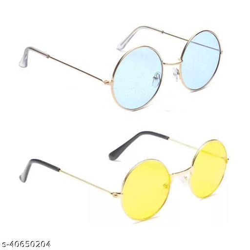 Premium Selling Round Sunglasses (Pack of 2)- (Blue Yellow)