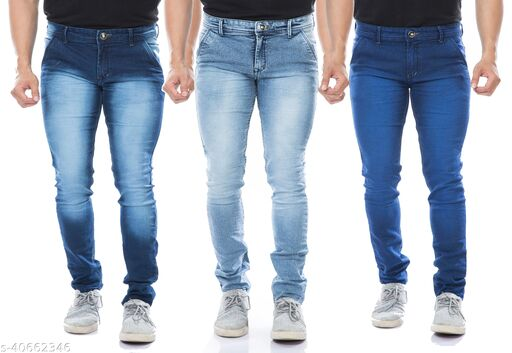 MOUDLIN Slimfit Strechable Multicolor Stylish Jeans Pack Of 3 For Men