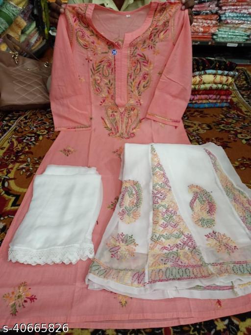 Women's Straight Cotton Chikankari Dupatta Set