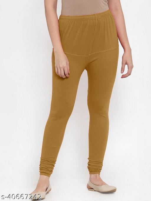 Shaw creation women's mehndi cotton blend four way stretch V-Cut leggings with miyani
