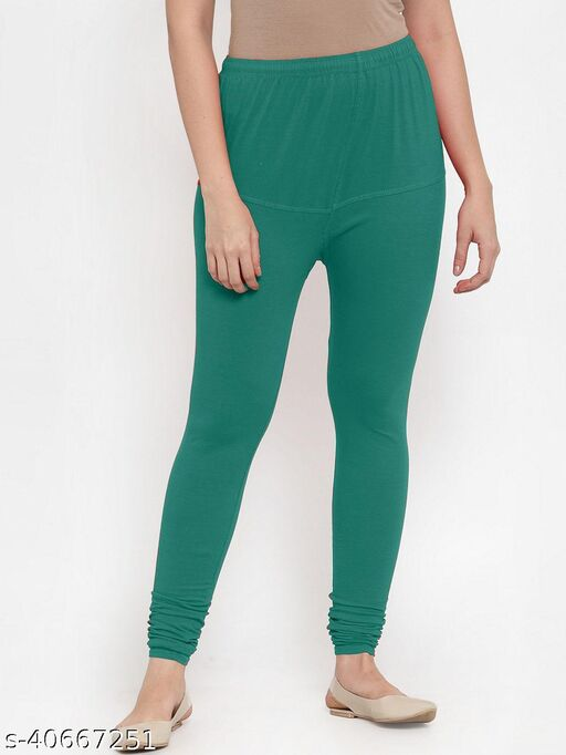 Shaw creation women's terquoise cotton blend four way stretch V-Cut leggings with miyani