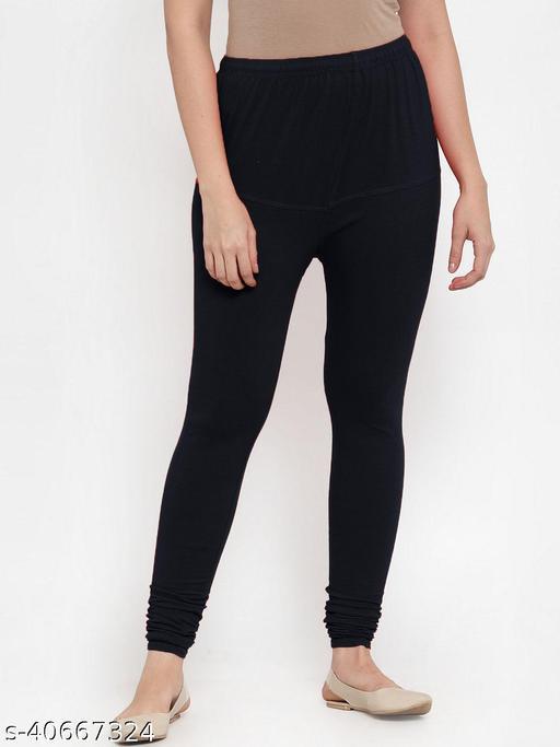 Shaw creation women's black cotton blend four way stretch V-Cut leggings with miyani