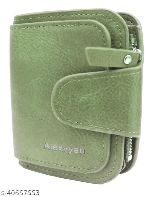 AlexVyan Green Women's Small Purse Wallet Female Hand wallet Women/ Ladies/ Girls Wallets Card Holder 3 Pocket