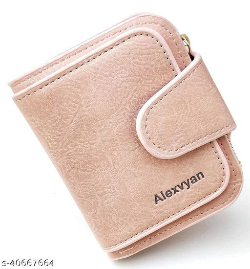 AlexVyan Pink Women's Small Purse Wallet Female Hand wallet Women/ Ladies/ Girls Wallets Card Holder 3 Pocket