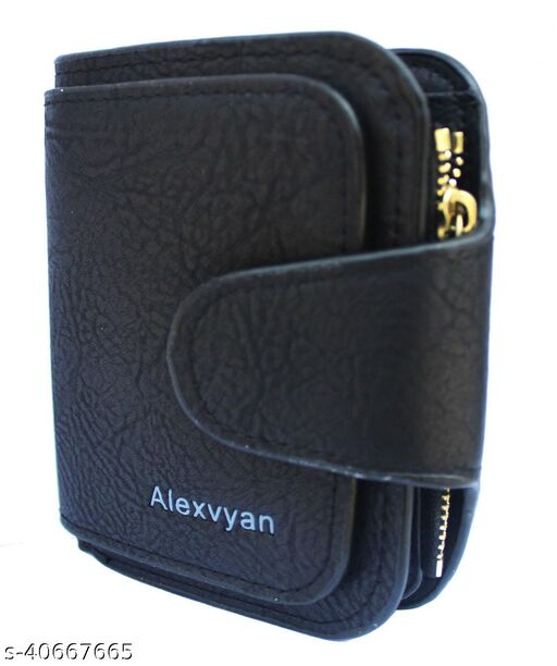 AlexVyan Black Women's Small Purse Wallet Female Hand wallet Women/ Ladies/ Girls Wallets Card Holder 3 Pocket