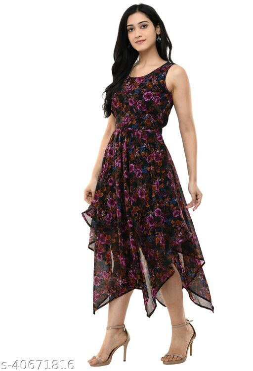 Shiva Trends Printed style High Low Dresses for Women Party Wear