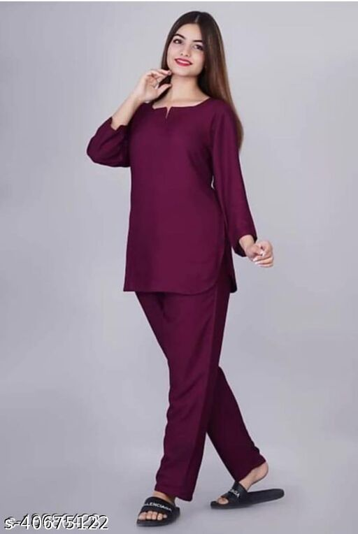 Women's Solid Rayon Night Suit Dress
