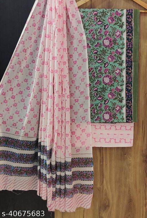 Hand Block Printed Soft Cotton Suit Material with Cotton Mulmul Dupatta