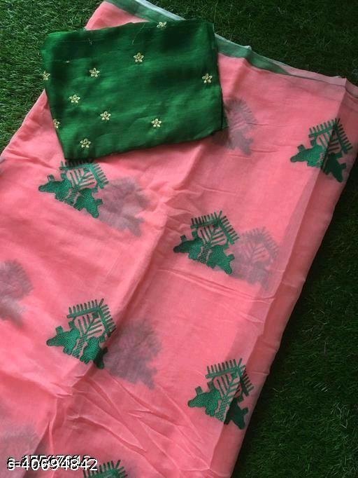 TRIPZIRA Chanderi Cotton Silk Saree With Embroidery Work Blouse ( Peach )