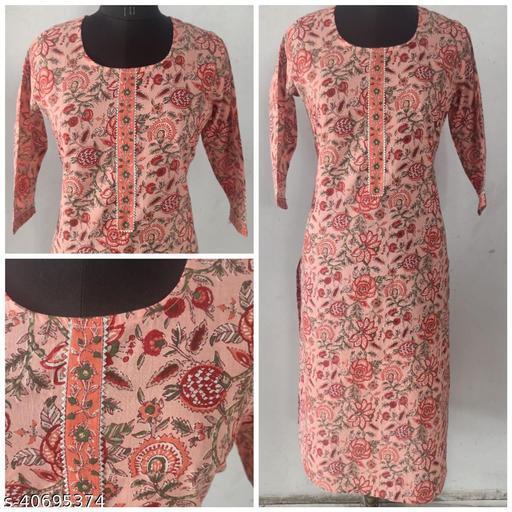 Peach Cambric Cotton printed Straight Kurta with gotta patti