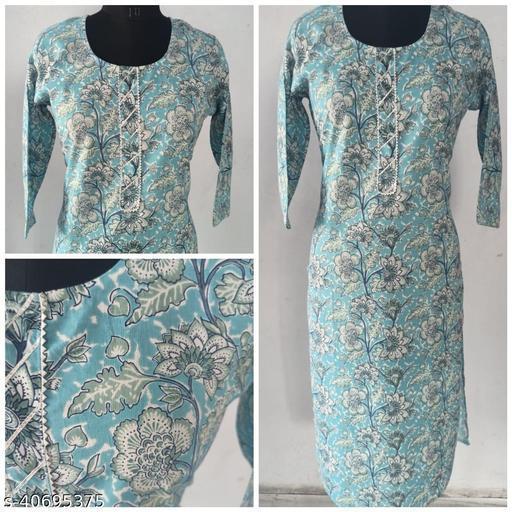 Sky Blue Cambric Cotton printed Straight Kurta with gotta patti
