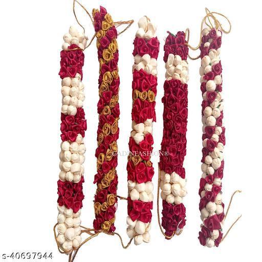 GadinFashion™ Bridal Hair  Artificial Flower Mogra Gajra/Bun For Women/Grils (Wedding,Party) Pack_05,Multi_color
