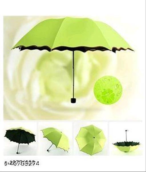 Beautiful Green Polyester Umbrellas (1pc Green)