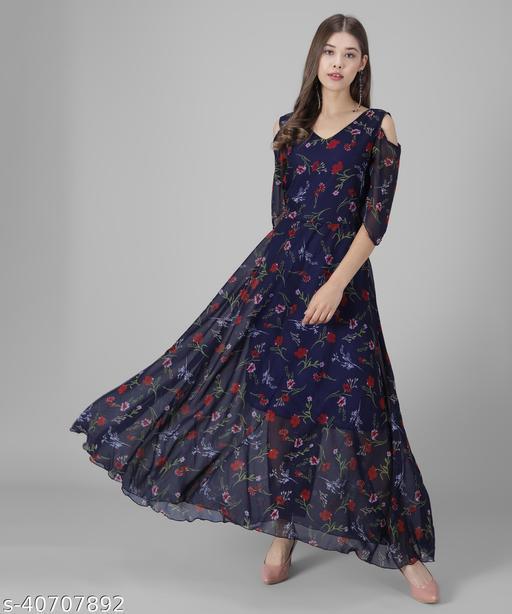 Vivient Women Nevy Blue Base Red Floral Printed Georgette Maxi Dress