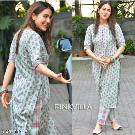 Indira Fashion Cotton Sky blue Color Printed Kurti With Bottom (DISINI-MULTI)