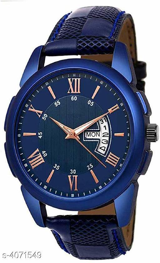 Crispy Blue Color Day Date & Diamond Studded Men' Watch