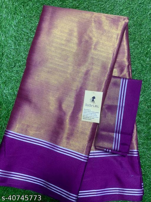 GoSriki Uppada Pattu Purple Plain Saree (Viti-Uppada Pattu-Purple)