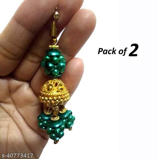 fashionishta women's embroidery material  pearls jhumki ethnic hanging latkan pack of 2  tassel of teal green  for blouse saree duppata chunni  kurti sharara and dress material pair of 2