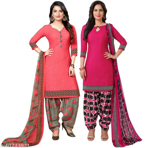 Fab Kudi Women's Peach And Magenta Crepe Printed Unstitched Salwar Suit Material (Combo of 2)