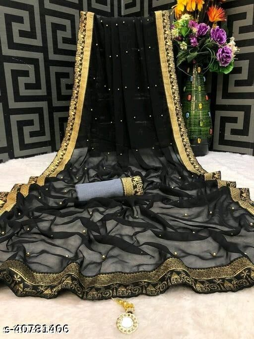 Shree Shree Thread & Dori Women's Georgette Moti Work Beaded And Jacquard Lace Border Party Wedding Fashion Sarees Black Color