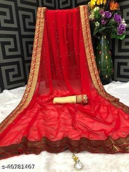 Shree Shree Thread & Dori Women's Georgette Moti Work Beaded And Jacquard Lace Border Party Wedding Fashion Sarees Red Color