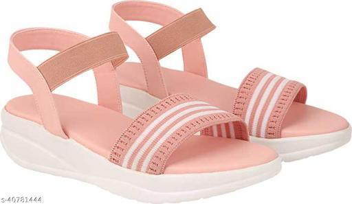 Zaploon women pink, white wedges sandal L100