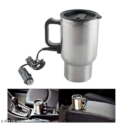 Vaidehi Travel Outdoor Electric Mug 12V Car Charging Electric Kettle Stainless Steel Travel Coffee Mug Cup Heated Thermos 450Ml