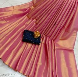 ROSE CLOUD Women's Uppada Cotton Tissue Saree With Separate Blouse Piece