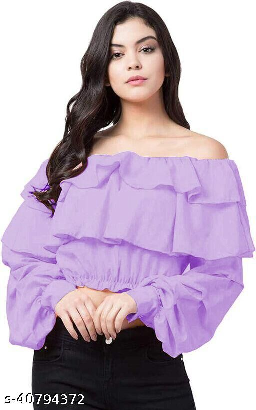 Ruffle floral off shoulder top for women