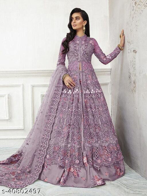 DR FAB Purple Net with Embroidery work Pakistani Suit