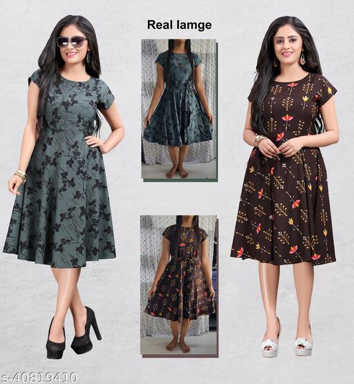 Women's Party Wear Multicolor Skater dress (Combo Pack Of 2)