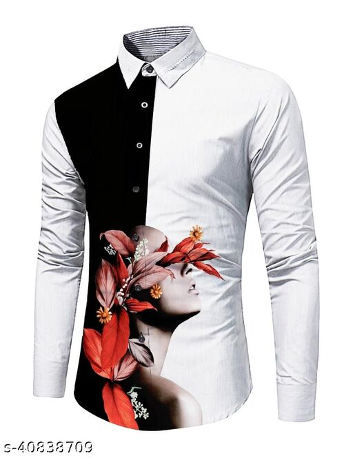 Vadtal Fashion Men's Shirt Unstitched Pure Cotton Digital Printed Shirt Fabric (2.25 Meter, Black And White Prinnted)