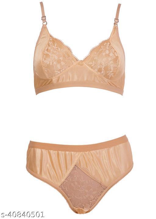 Women Solid Gold Silk Lingerie Set