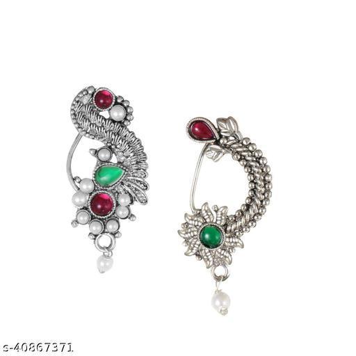 Sukai Jewels Maharashtrain Traditional wear Oxidised Design Non Pierced Nath Combos for Women and Girls