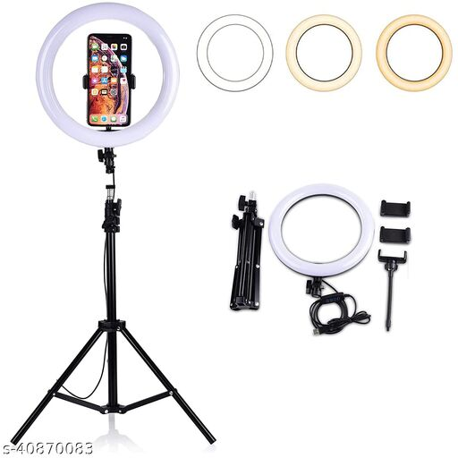 """10"""" inch LED Ring Light with 5 Ft Tripod Stand Combo for YouTube Reels Photo-shoot Video Live Stream Makeup Videos vlogging Vigo Video Shooting"""