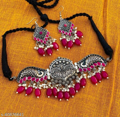 Ruby Oxidised Jewellery Set