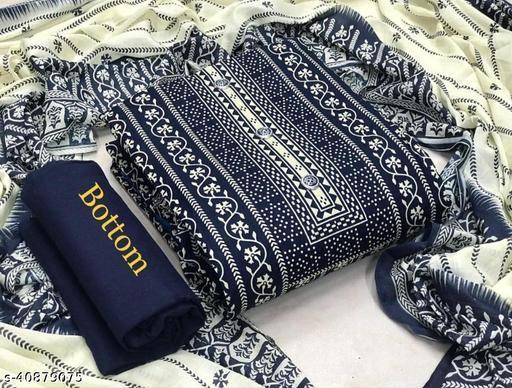 Jaipuri Lakshmi blue print suit-D