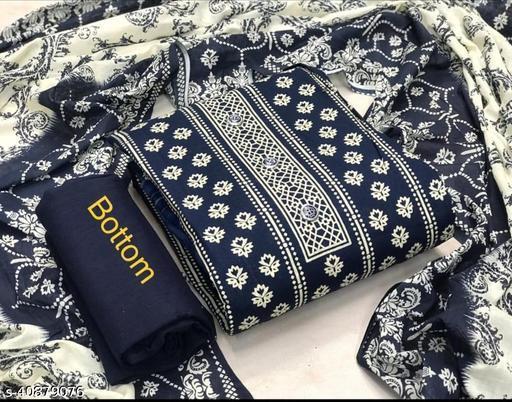 Jaipuri Lakshmi blue print suit-A