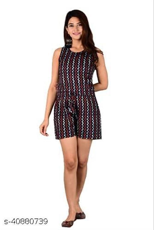 Pc fashion Chevron/Zig Zag Pattern Jumpsuit in Cotton for Women & Girls (Multicolour)